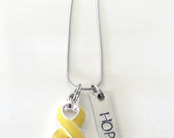 Yellow Customizable Awareness Ribbon Stainless Steel Charm Necklace with Optional Add On Charms