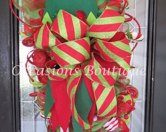 Christmas Wreath, Deco Mesh Wreaths, Elf Wreath, Christmas decoration, Holiday wreaths, Front door wreath, door hanger