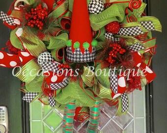 Christmas Wreath, Elf Wreath, Christmas Decoration, Holiday Wreath, Wreath for Door, Door Wreath, Outdoor wreaths, Front door Wreaths