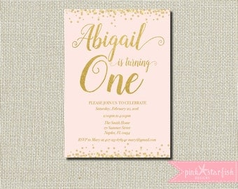 First Birthday Invitation, Pink and Gold Birthday Invitation, Star Birthday Invitation, Pink and Gold, Stars, Glam Birthday Invitation