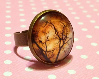 Twisted Tree Branches Ring / Orange Autumn Sky / Gothic Nature / Creepy Ring / Horror Nu Goth Alternative / Haunted Forest / Halloween Ring