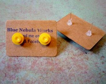 Yellow Circle Building Block Earrings - Building Block Jewelry - Stud Earrings - Yellow Lego Jewelry