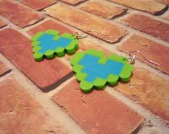 Green and Blue Pixel Heart Earrings  retro nintendo earrings 8 bit fusible bead earrings