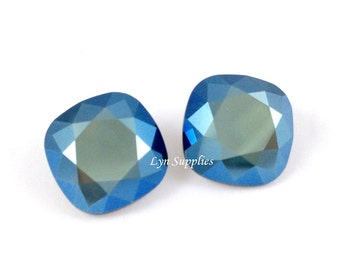 4470 METALLIC BLUE 12mm Swarovski Crystal Fancy Stone Cushion Cut, 2 pieces or 6 pieces