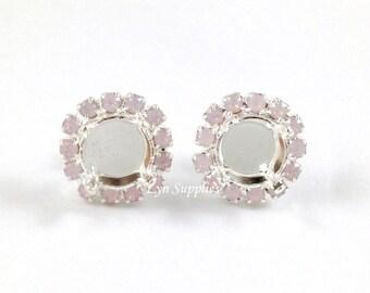 8mm ss39 Silver Plated Stud Earrings Base Settings Rose Water Opal Rhinestones 1 Pair, Light Pink Pave Rhinestones