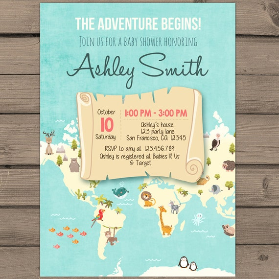 adventure begins baby shower invite world map baby shower,