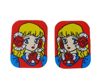 VINTAGE 1970's Cute Set of 2 Girl or Princesse Iron Appliqués / Patches , Retro Design , Manga Patch , Made in Japan , New Old Stock