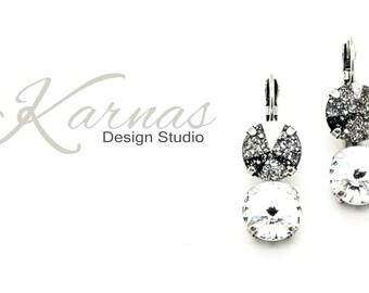 BLACK PATINA & CRYSTAL 12mm Swarovski Elements Leverback Double Drop Earrings *Pick Your Metal *Karnas Design Studio *Free Shipping*