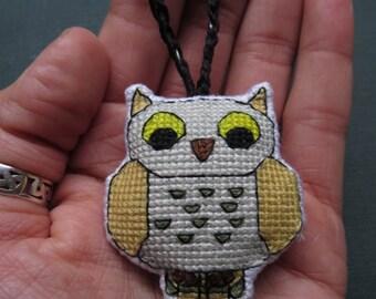 Whimsical Fantasy Owl Charm, (Pale Orange Wings, Green Spots) by DaraCreek