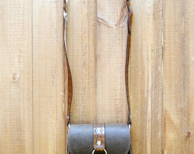 leather boho bag with ornament, Handmade Leather Bag, Bohemian bag, Leather carving bag, Shoulder bag