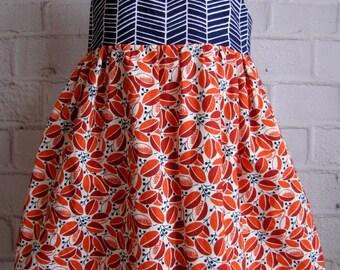 2T Girls Dress, Herringbone Toddler Dress, Navy Orange Girls Dress, Square Neck Little Girls Dress, Chevron Pattern, 2 Year Old Dress, Fall