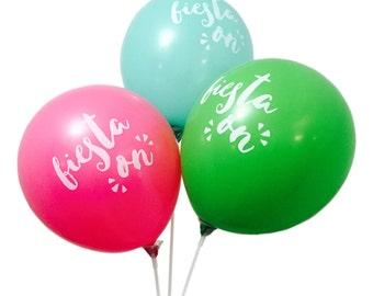 "Fiesta On 12"" Balloons - Lime Green, Aqua, Hot Pink - Set of 3"