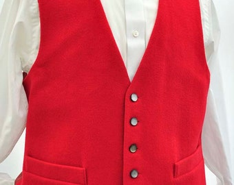 Men's Traditional Hunting Red Wool Moleskin Waistcoat Vest 42R