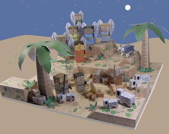 Bible MiniWorld Paper Toys – Shepherds and Angels - Cut, assemble and play. Instant Download