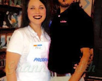Combo: Progressive White Flo Apron & Mayhem Black Shirt with Flo name badge, head band, and I <3 insurance pin