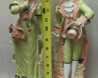 """Pair of German or French Bisque Porcelain Antique M'LORD & M'LADY Figurines Chartreuse Green 15"""" Tall!"""