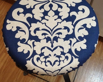 Linen elasticized round barstool cover, kitchen counterstool seat cover, Berlin Premier Prints Fabric, natural w indigo blue washable