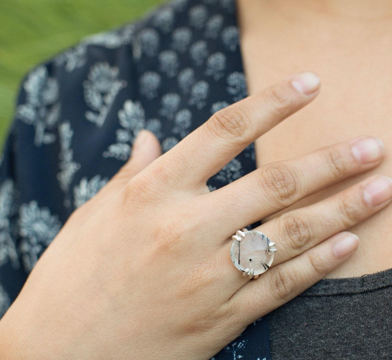 Quartz Ring with Tourmaline Rose Cut Jewelry Tourmalated Quartz