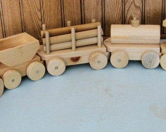 Wooden Diesel Train and Cars