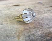 1970's Vintage Toliro Rock crystal and diamond ring 18K HEAVY