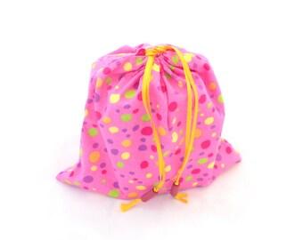 Fabric gift bag, drawstring gift bag, handmade gift bag, pink gift pouch, reusable gift bag, fabric gift wrap