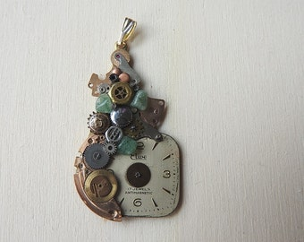 Pendant made of old watch parts pendant of vintage watch parts steampunk