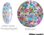 Nursery Rhymes: Glitter Topper Nail Polish,Handmade Custom Indie Nail Lacquer,Stars,Hearts,Moons,Shreds,Bows,Dots, Circles by Glitter Lambs