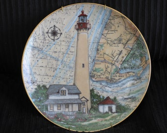Cape May Lighthouse Plate - Donna Elias - Greenbriar - New Jersey Lighthouse - Collectible Plate - Decorative - Beach Decor - Ocean Lover