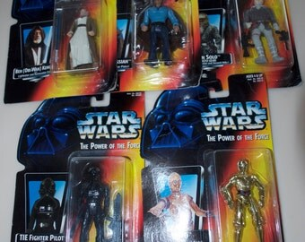 Choose One: Star Wars 1995 Action Figure Power of the Force Ben Obi Wan Lando Calrissian Han Solo Fighter Pilot C-3PO