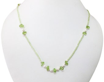 Pearl and Peridot beads necklace with Sterling Silver , Pearl beads , Peridot beads , Pearl necklace , Peridot necklace,Gift Idea,Mala beads
