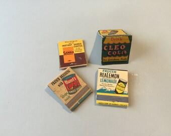 VINTAGE MATCHBOOKS, Real Lemon advertising, Sanka Coffee, Cleo Cola, Hunt's Tomato Sauce, front strike book, vintage advertising, promo