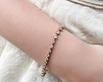 Cubic zirconia Bracelet, Bridal Bracelet, Wedding Gold Bracelet, Bridal Jewelry, Wedding Jewelry, Crystal Wedding Bracelet B244G