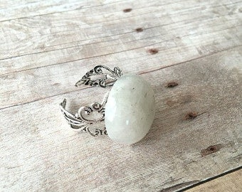 Moonstone Gemstone Ring Moonstone Adjustable Statement Ring Moonstone Statement Ring White Moonstone Ring White Moonstone Ring (R36)