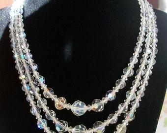 Vintage Aurora Borealis Crystal Necklace circa 1960