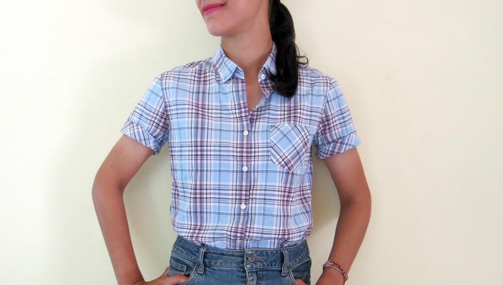 Plaid shirt check blue and grey shirt checked womens for Grey plaid shirt womens