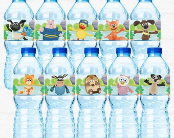 Timmy Time Birthday Party Water Bottle Labels - Timmy Paxton Yabba Otus Kid and more friends - DIY Party Printable Instant Download