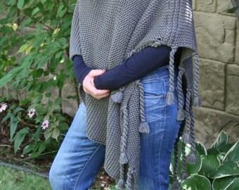 Poncho Slate Gray Grey Asymmetric Super Soft Warm Scarf Cape Shawl Wrap with Tassels