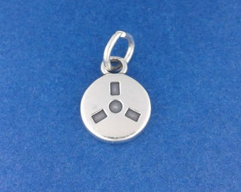 MOVIE FILM REEL Charm .925 Sterling Silver, Audio Tape, Hollywood Actor, Director Pendant - f1123