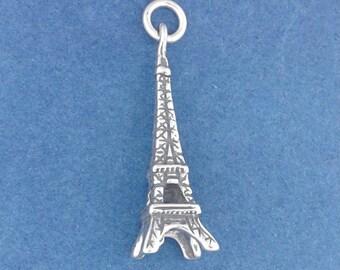EIFFEL TOWER Charm .925 Sterling Silver Paris France Pendant - d35536