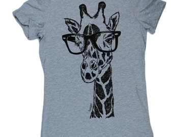 Womens TShirts - Hipster Giraffe Womens Tee - African TShirts - Fashion TShirts - Cool Tee Shirt - Cute Tshirts - Gift for Women - Grey Tees