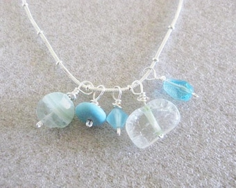 Necklace ~  Cluster of Blue  Crystal  Sea Glass beads  Sterling silver chain