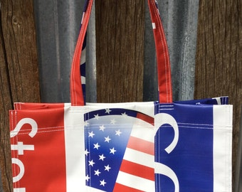 Red White Blue Shoulder Bag, Patriotic, USA, Tote Bag, Carryall, Gift for Him, Gift for Her, Gift for Husband, Gift for Wife