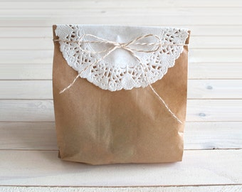 Kraft Favor Bag + Lace Paper Doily + natural twine
