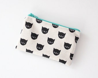 small pouch cat face hand printed design