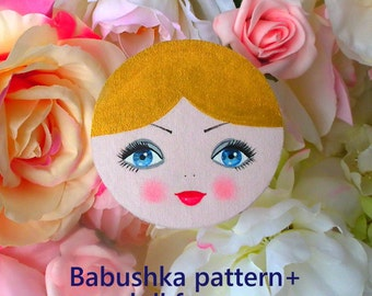 Cloth Doll face, babushka doll face and sewing pattern. Hand painted face for a plush doll. Made of cotton, non toxic acrylic paints.