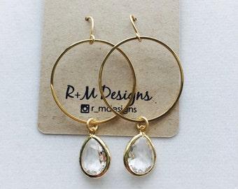 14kt gold filled hoops with gemstones