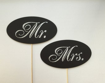 Mr. and Mrs. cursive glitter. Photobooth Props Photo Booth Props Set of 2