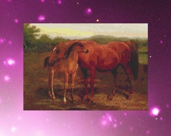 Counted Cross Stitch, Old Masters Cross Stitch, Instant PDF Download Cross Stitch Pattern A Chestnut Mare and Foal by Agasse