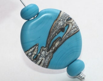 Etched Focal Bead - Ivory Blue Turquoise - 34 mm - Flat Oval Cabochon - Marble Organic Bead - Handmade Lampwork Glass Bead