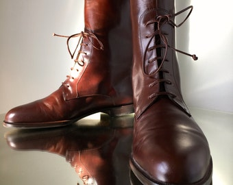 Vintage - Size 7 FERRAGAMO Rich Chocolate Sable Brown Leather Riding Boots | Made in Italy | EUC